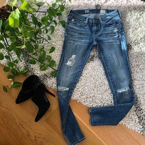 AG ripped legging ankle super skinny jeans